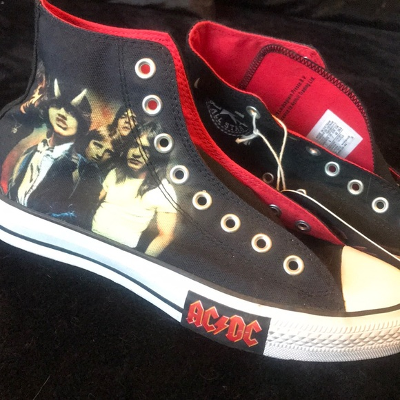 ACDC CONVERSE ALL Star High Top Tennis Shoes, Sz 5 in men's